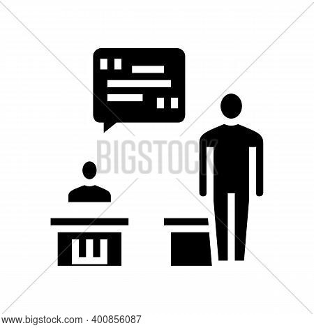 Pupil Answer Glyph Icon Vector. Pupil Answer Sign. Isolated Contour Symbol Black Illustration