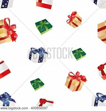 Vector Seamless Pattern Of Christmas Colorful Gift Boxes, Wrapped Presents.