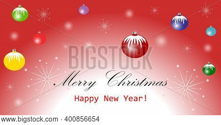 Greeting Card With Christmas Decorative Elements With Colorful Christmas Balls And Sparklers.