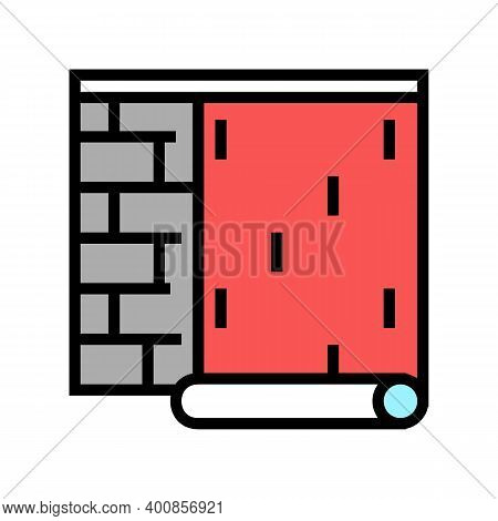 Gluing Wallpapper On Brick Wall Color Icon Vector. Gluing Wallpapper On Brick Wall Sign. Isolated Sy