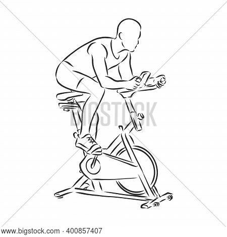 Hand Drawn Bicycle Simulator Doodle. Sketch Sports Equipment And Simulators, Icon. Decoration Elemen