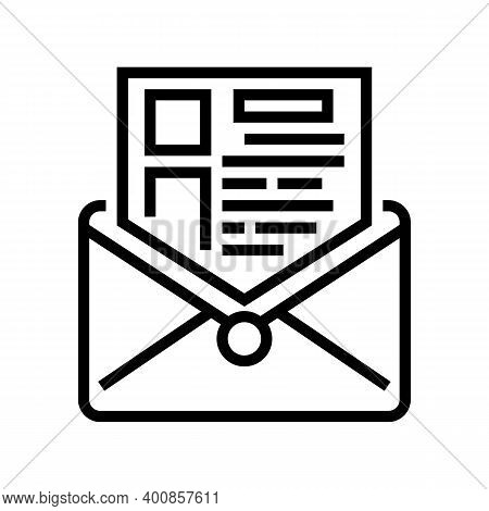 Sending Mail Report Line Icon Vector. Sending Mail Report Sign. Isolated Contour Symbol Black Illust