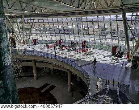 Turkey, Ankara - October 24, 2019: Top View Of Two Floors Inside Ankara Esenboga Airport (esb). Airp