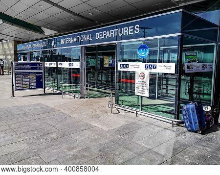Turkey, Ankara - October 24, 2019: Entrance To International Terminal A Of Ankara Esenboga Airport (
