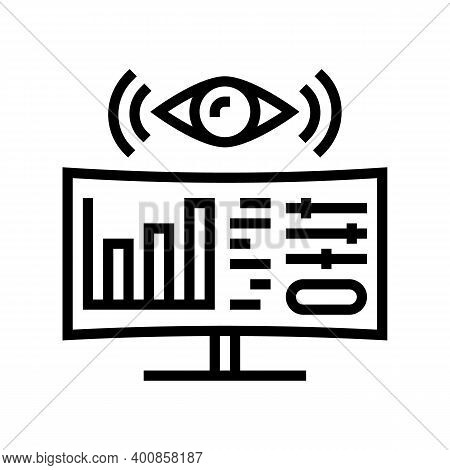 Monitoring System Line Icon Vector. Monitoring System Sign. Isolated Contour Symbol Black Illustrati