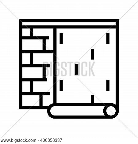 Gluing Wallpapper On Brick Wall Line Icon Vector. Gluing Wallpapper On Brick Wall Sign. Isolated Con