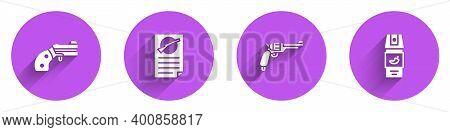 Set Small Gun Revolver, Firearms License Certificate, Revolver And Pepper Spray Icon With Long Shado