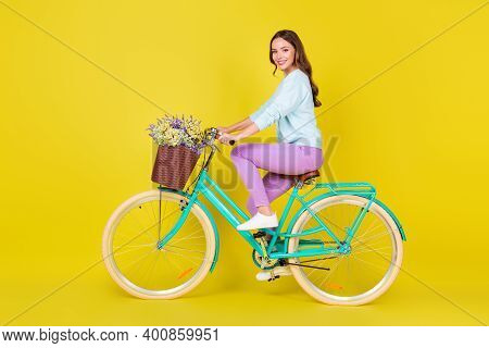 Side Profile Full Length Photo Of Charming Pretty Student Girl Riding Retro Uncommon Bike Bring Flow