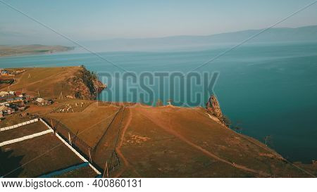 Lake Baikal. Olkhon Island In The Summer Shamanka From Drone