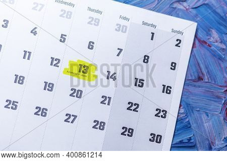Ascension Of Jesus Highlighted In May 2021 Calendar. May Monthly Calendar On Blue Background