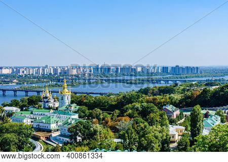 View On Church Of Nativity Of Blessed Virgin Mary Of Kiev Pechersk Lavra, River Dnieper And Kiev Cit