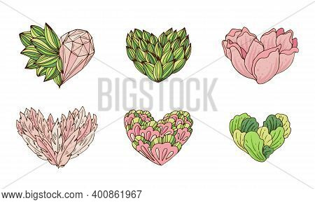 Vector Set Of Stylized Hearts With Plants, Feathers And Crystals In Green And Pink Tones.