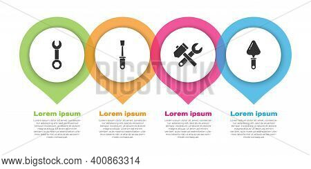 Set Wrench Spanner, Screwdriver, Hammer And Wrench Spanner And Trowel. Business Infographic Template