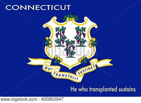 The Seal Of The Usa State Of Connecticut Over A White Background With The State Motto He Who Transpl