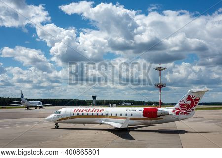 July 2, 2019, Moscow, Russia. Airplane Bombardier Crj-200 Rusline At Vnukovo Airport In Moscow.