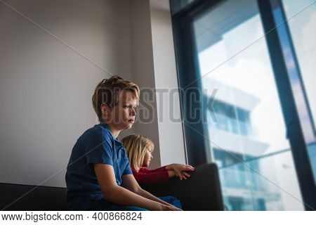 Sad Boy And Girl Stay Home, Family On Quarantine, Social Distancing For Kids