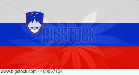 Medical Cannabis In The Slovenia. Cannabis Legalization In The Slovenia. Leaf Of Cannabis Marijuana