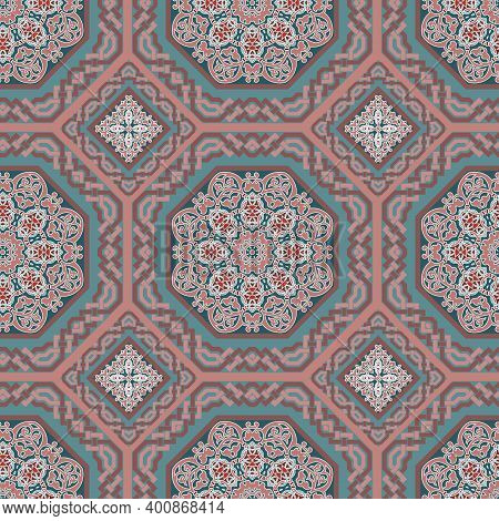 Elegance Colorful Floral Seamless Pattern. Ethnic Style Ornamental Vector Background. Beautiful Intr