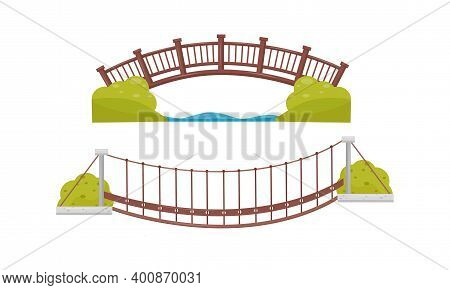 Wooden And Suspended Bridge As Structure For Spanning Physical Obstacle Vector Set