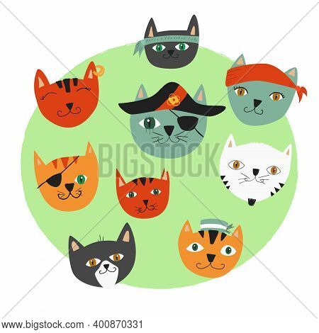 Vector Illustration Colorful Cats Pirates. Set Of Cute Cat Faces For Kids Decorations, Books And Act