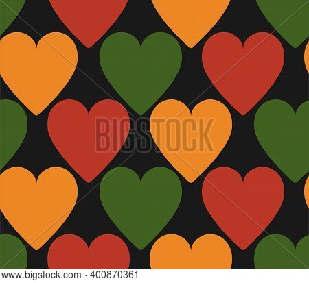 pattern with hearts in traditional Pan African colors - red, yellow, green, black background. Backdrop for Kwanzaa, Black history month, Black Love Day, Juneteenth greeting card, banner