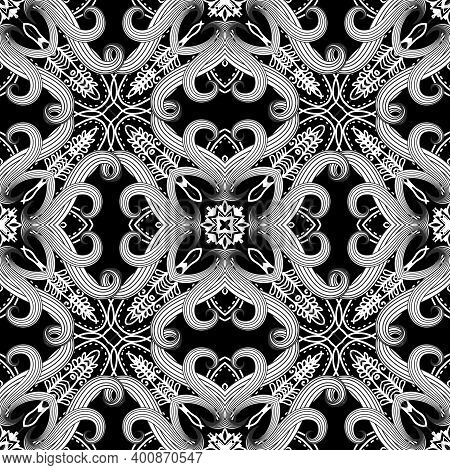 Black And White Intricate Fantasy Seamless Pattern. Floral Ornamental Ethnic Background. Repeat Vect