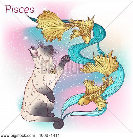 Zodiac. Vector Illustration Of The Astrological Sign Of Pisces As A Siamese Or Thai Cat Breed Standi