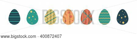 Easter Eggs. Vector Easter Eggs Icons, Isolated. Egg In Flat Design. Vector Illustration