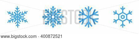 Snowflakes. Blue Snowflakes, Isolated. Snowflake Icon In Flat Design. Snow. Winter Illustration. Vec