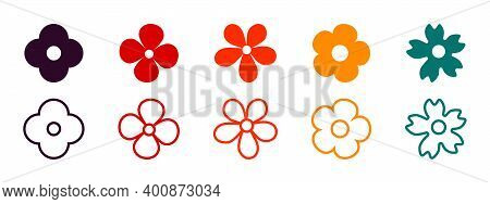 Flowers Vector Icons. Flower Icon. Flowers Isolated. Flowers In Modern Simple Flat Style. Vector Ill