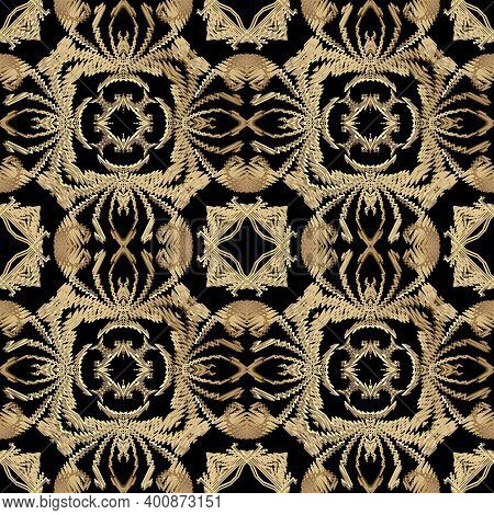 Tapestry Floral Seamless Pattern. Black Ornamental Textured Background. Repeat Vector Backdrop. Gold