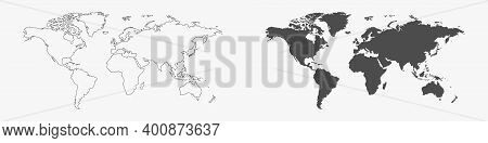 World Map. Earth. Travel Concept. World Map Vector. Earth In Line Design. Vector Illustration