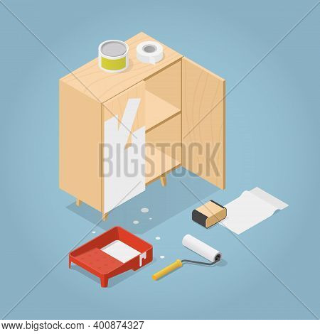 Vector Isometric Furniture Renovation Illustration. Partially Painted Cabinet With Tray With Paint,