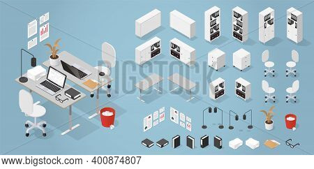 Vector Isometric Office Furniture Kit. Set Of Objects - Desk, Bookcase, Chair, Lamp, Folders, Trash