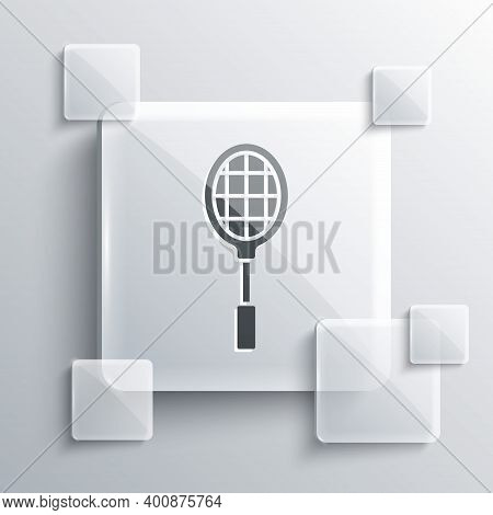 Grey Tennis Racket Icon Isolated On Grey Background. Sport Equipment. Square Glass Panels. Vector Il