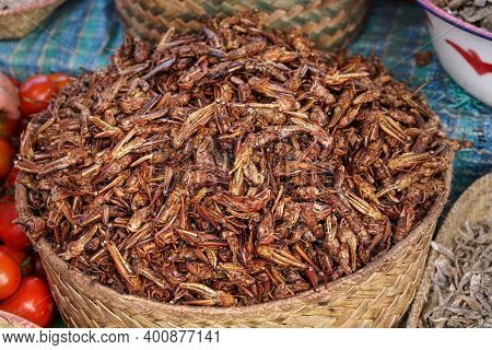 Dry Fried Grasshopper Or Locust Insect On Display At Street Food Market In Madagascar