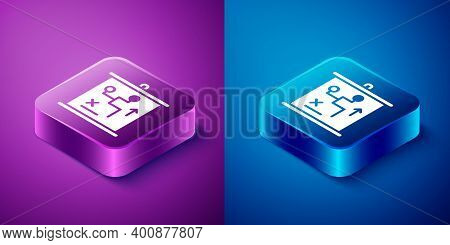 Isometric Planning Strategy Concept Icon Isolated On Blue And Purple Background. Cup Formation And T