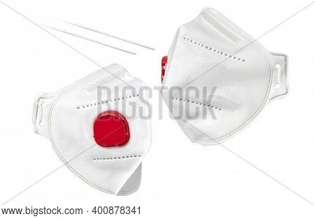 Medical Mask With Valve Isolated On White. Three Quarter View.