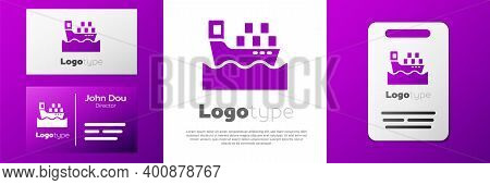 Logotype Cargo Ship With Boxes Delivery Service Icon Isolated On White Background. Delivery, Transpo