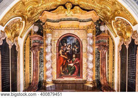 Orvieto, Umbria, Italy - August 22 2020: Gualterio Chapel Or Cappellina Di Santa Maria Maddalena (ca