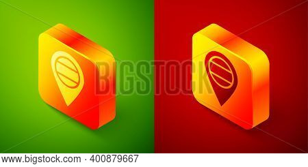 Isometric Location Russia Icon Isolated On Green And Red Background. Navigation, Pointer, Location,