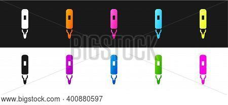 Set Marker Pen Icon Isolated On Black And White Background. Felt-tip Pen. Vector