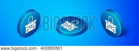 Isometric Handbag Icon Isolated On Blue Background. Female Handbag Sign. Glamour Casual Baggage Symb