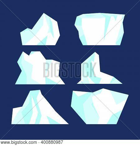 Iceberg Underwater Due To Ice Set Isolated. Antarctic Polar Iceberg Frozen Mountain Collection. Deep