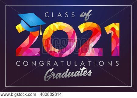 Class Of 2021 Year Graduation Banner, Awards Concept. T-shirt Idea, Holiday Red Coloured Invitation