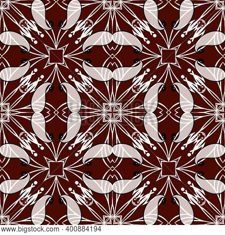 Paisley Black White Red Floral Seamless Pattern. Ornamental Vector Ethnic Style Lines Background. Pa