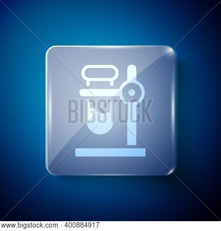 White Glass Test Tube Flask On Stand Icon Isolated On Blue Background. Laboratory Equipment. Square