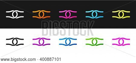 Set Rope Tied In A Knot Icon Isolated On Black And White Background. Vector