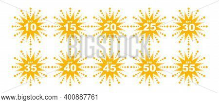 Set Of Spf Protection Icons With Suns Uv Block Symbols