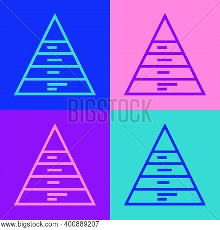 Pop Art Line Business Pyramid Chart Infographics Icon Isolated On Color Background. Pyramidal Stages